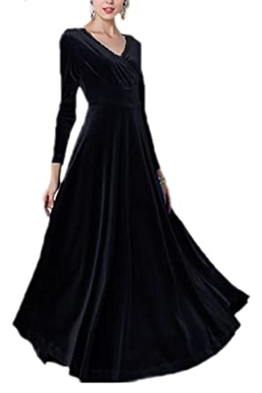 Sevozimda Womens Elegant Velvet Long Sleeve Swing Maxi Dress Plus Size Black XS