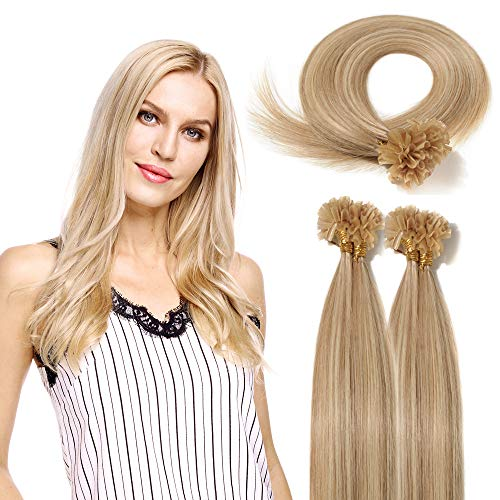 Ombre U Tip Fusion Human Hair Extensions 18 inch Hightlighted Color Ash Blonde mixed Bleach Blonde Keratin Prebonded Nail Tipped 100 Strands 50gram Per Package (18