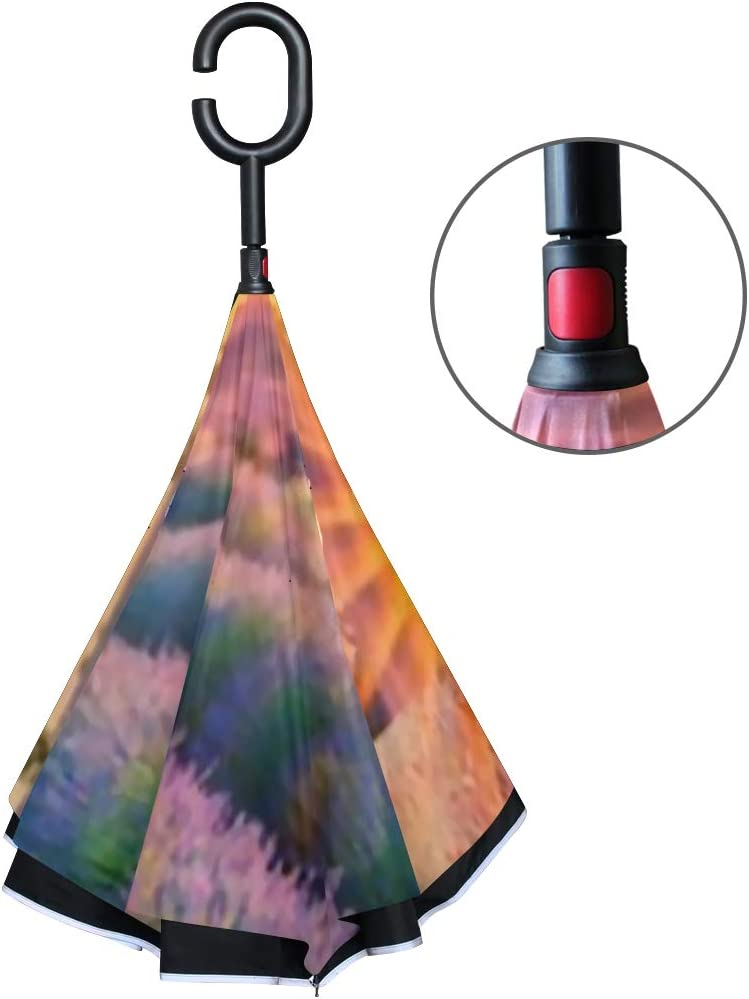 Double Layer Inverted Inverted Umbrella Is Light And Sturdy French Lavender Field Sunset Reverse Umbrella And Windproof Umbrella Edge Night Reflectio