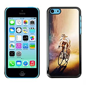 // PHONE CASE GIFT // Duro Estuche protector PC Cáscara Plástico Carcasa Funda Hard Protective Case for iPhone 5C / CYCLIST BICYCLE RACER /