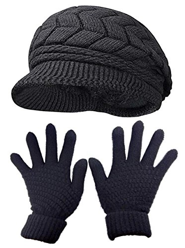 (HINDAWI Womens Winter Hat and Gloves Set for Girls Wool Knit Skull Cap with Visor,Black)