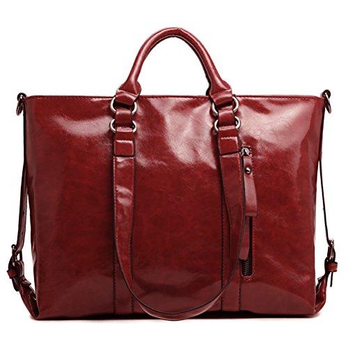 Women PU Leather Shoulder Bag Tote Bag Handbag Red - 8