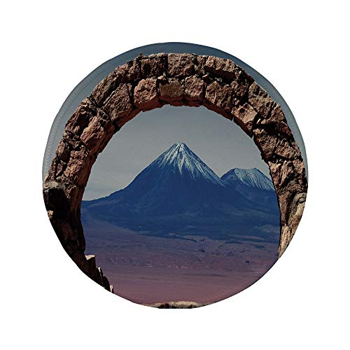 Non-Slip Rubber Round Mouse Pad,Volcano,South American Desert Landscape with Mountains Seen from Stone Arch Decorative,Light Pink Navy Blue Brown,7.87