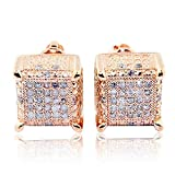 1/4cttw Diamond Earrings Cubes 10k Rose Gold Square 9mm Wide Screw Back Mens