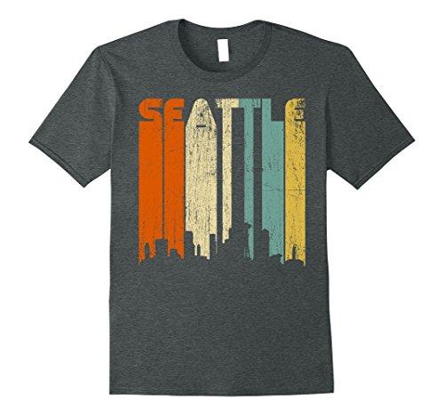 Vintage Mens Disco (Mens Seattle City T-Shirt, Washington WA Retro Vintage 70s Disco Small Dark Heather)