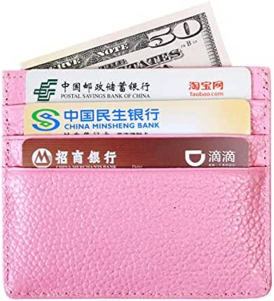 RFID Blocking Slim Leather Card Holder with 6 Card Slot & 1 Cash Compartment Wallet