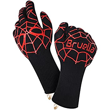 Bruella™ Heat Resistant Gloves, Best Fit on Amazon! A+ Military Grade Kevlar + EXTRA PROTECTION for your Forearms ✔ EN Certified Level 4 at over 900°F/500°C ✱ LIFETIME WARRANTY ✱