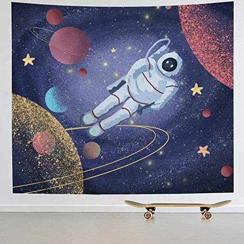 (IcosaMro Astronaut Men Tapestry Wall Hanging, Cool Man in Outer Space Galaxy Wall Decor, [Hemmed Edges& Hooks] Hippie Man Wall Art for Bedroom Living Room College Dorm (Spacewalk, 51x60))