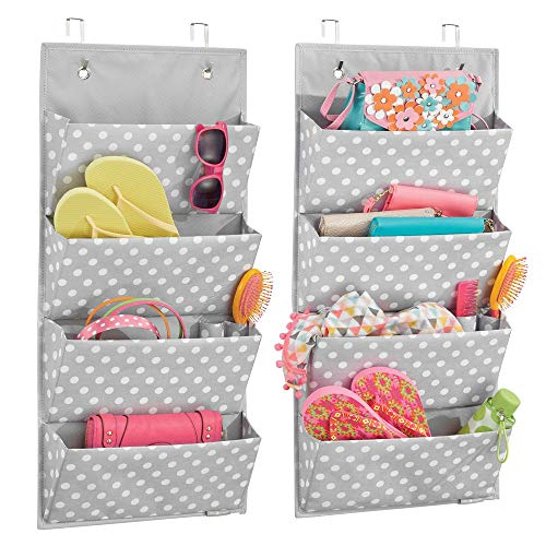 (mDesign Soft Fabric Over The Door Hanging Storage Organizer with 4 Large Pockets for Child/Kids Room or Nursery - Fun Polka Dot Pattern, Hooks Included, 2 Pack - Gray/White Dots)