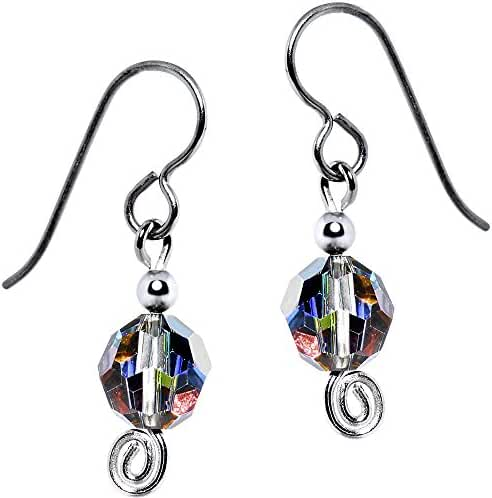 Solid Titanium Rainbow Dazzle Bead Earrings Created with Swarovski Crystals