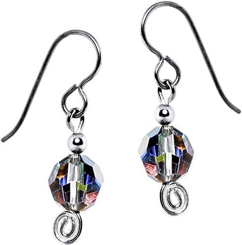 Solid Titanium Rainbow Dazzle Bead Earrings Created with Swarovski Crystals