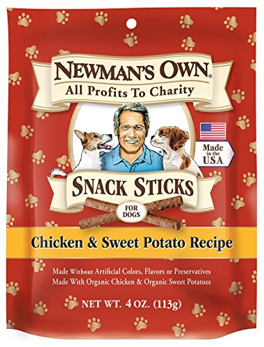 Newman's Own Snack Sticks for Dogs, Chicken & Sweet Potato, 4 Ounce (Pack of 6) (Sweet Treet)