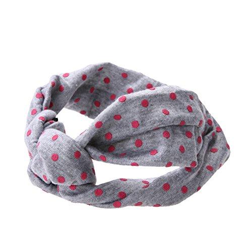 Baby Girl Cotton Twisted Headband Turban Dot Knot Headwear Headwrap (Grey) - 1