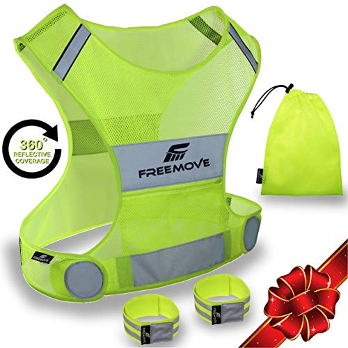 No.1 Reflective Vest Running Gear | YOUR BEST CHOICE TO STAY VISIBLE | UltraLight & Comfy Motorcycle Reflective Vest | Large Pocket & Adjustable Waist | Safety Vest In 6 Sizes | Adjustable Bands & Bag