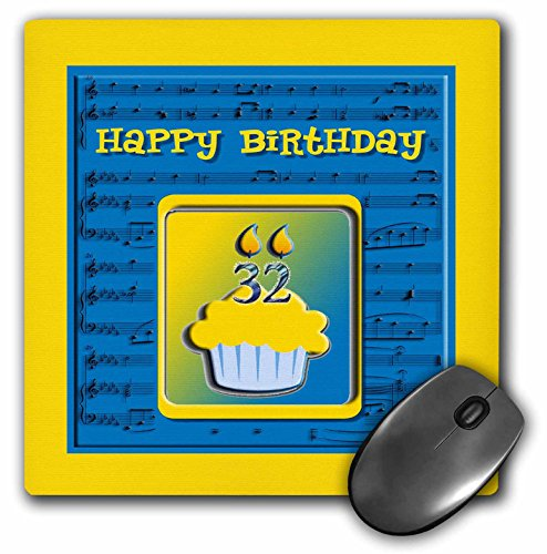 - 3dRose Beverly Turner Birthday Design - 32nd Birthday Cupcake on Music Notes, Blue and Yellow - MousePad (mp_98907_1)