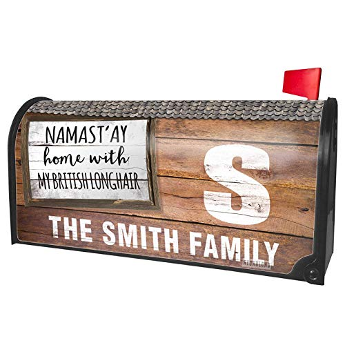 NEONBLOND Custom Mailbox Cover Namast'ay Home with My British Longhair Simple Sayings
