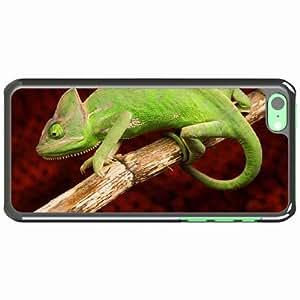 iPhone 5C Black Hardshell Case chameleon color reptile branch Desin Images Protector Back Cover