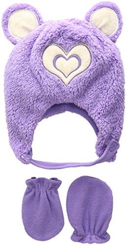 Wippette Toddler Girls Sherpa Heart Critter Hat Mitten Set, Purple, Toddler