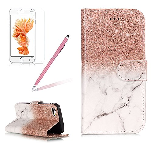 Case for iPod Touch 5/6,Girlyard Colorful Painting Premium PU Leather+TPU inner Book Style Magnetic Closure Flip Stand Feature with Screen Protector for iPod Touch 6/iPod Touch 5-Marble Rose gold -