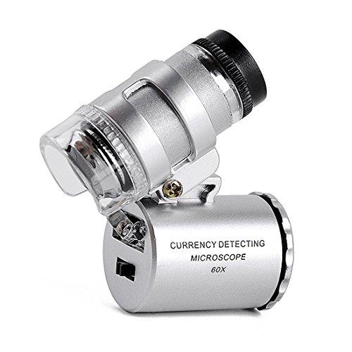 Carebol 60X Mini LED UV Light Microscope Loupe Jeweler Magnifier Repair Detector Indentification Magnifier Handheld Multi-functional Adjustable Loupe