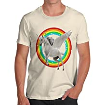 TWISTED ENVY Cat Riding Flying Unicorn Men's Printed Cotton T-Shirt