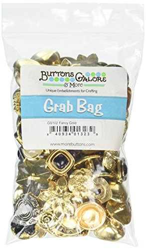 Buttons Galore GB102 Fancy Gold Grab Bag with Craft and Sewing Buttons, 6-Ounce