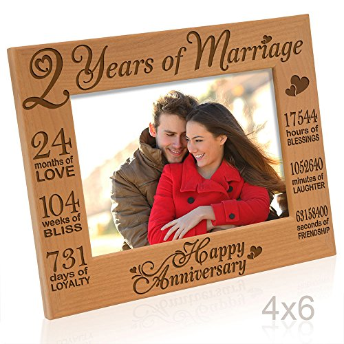 Kate Posh  Our 2nd Cotton Anniversary Engraved Picture Frame 2 years together as Husband amp Wife 2 Years of Marriage Happy second anniversary gifts for her gifts for him couple 4x6Horizontal
