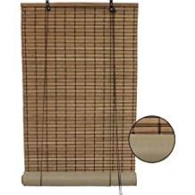 Brown Bamboo Slat Roll Up Blind with Blackout Backer Privacy Liner (24x72 Inch)