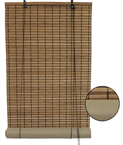 Shade Matchstick Bamboo 72 - Seta Direct, Brown Bamboo Slat Roll Up Blind with Privacy Backer Liner - 72-Inch by 72-Inch