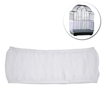3 Colors Ventilated Nylon Bird Cage Cover Shell Seed Catcher Pet Products Large Size Bird Cage Seed Catcher Seeds Guard Parrot Nylon Mesh Net Cover Stretchy Shell Skirt Traps Cage Basket Soft Airy