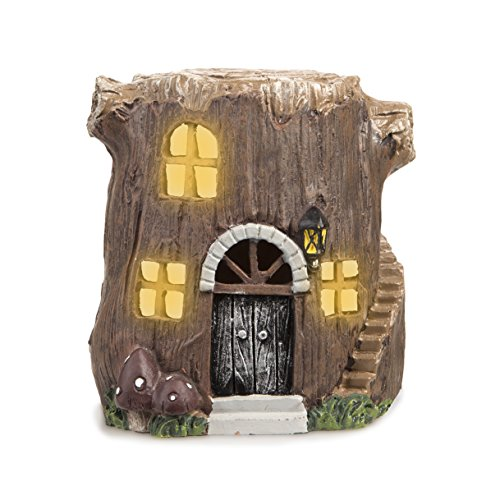 Darice Light Up LED Fairy Garden Tree Stump House, Resin, 3.875 x 4.25 inches