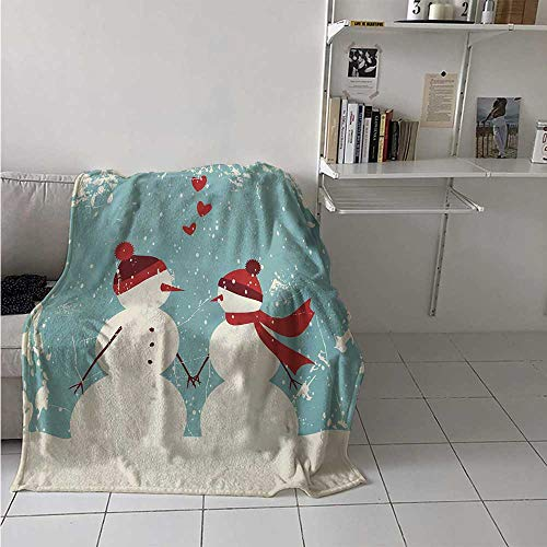 maisi Christmas Throw Blanket Snowman and Woman Romantic Couple in Love Valentines Holding Hands Grunge Velvet Plush Throw Blanket 60x36 Inch Seafoam Red Cream]()