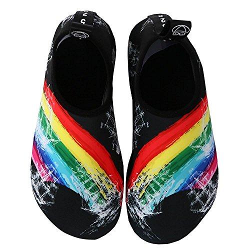 VIFUUR Wassersport Schuhe Barfuß Quick-Dry Aqua Yoga Socken Slip-On für Männer Frauen Kinder Regenbogen