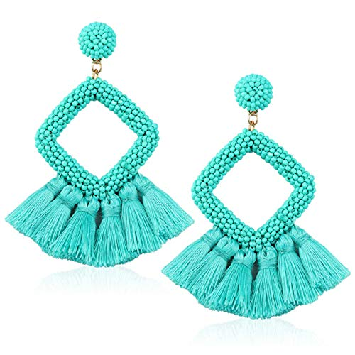 Tassel Bead Statement Earrings for Women Girls Handmade Bohemian Beaded Hoop square Thread Fringe Drop Prom Studs Jewelry Accessories Gift for Daughter Niece with Gushion Present Box GUE137 Green (Earrings Jewelry Thread)