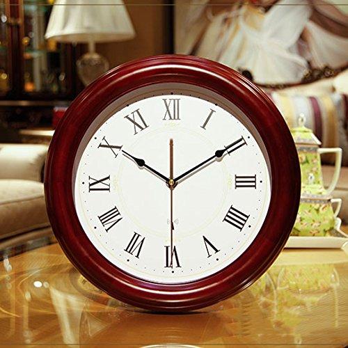 時計の壁時計リビングルームファッション創造的な木製の時計近代的なミニマリズムヨーロッパミュートソリッドウッド壁のチャート (色 : A) B07DGB7SM5 A A