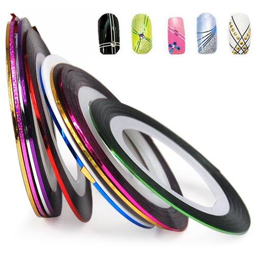 Nail Stripe bande Décoration Autocollant hologramme, ensemble de 10