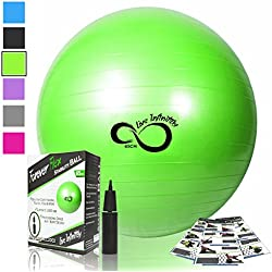 Exercise Ball -Professional Grade Exercise Equipment Anti Burst Tested with Hand Pump- Supports 2200lbs- Includes Workout Guide Access- 55cm/65cm/75cm/85cm Balance Balls (Lime Green, 65 cm)