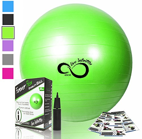 Live Infinitely Exercise Ball (55cm-95cm) Extra Thick Professional Grade Balance & Stability Ball- Anti Burst Tested Supports 2200lbs- Includes Hand Pump & Workout Guide Access Green ()