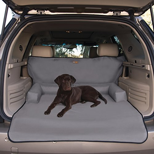 K&H Pet Products Bolster Cargo Cover Gray - Protects Cargo Area of Your Vehicle from Pet Hair, Dirt, Scratches and More - Bolster Pillows for Comfort - Gray Small Cargo Liner