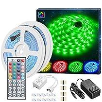 LED Lights Strip, Govee 16.4ft RGB LED Strip Lights with Remote, 5050 Flexible Color Changing RGB LED Strip for Home Lighting Kitchen Bed Decoration
