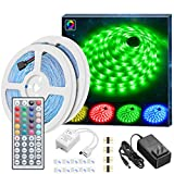 Led Strip Lights Kit, MINGER 32.8Ft RGB Light Strip with Remote, Controller Box and Support Clips Ideal for Room, Bedroom, Home, Kitchen Cabinet, Party Decoration 12V/3A Power Supply, Non-Waterproof: more info