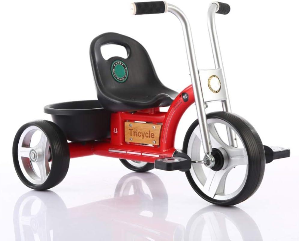 LZQBD Children's Fun/Triciclo for niños de Bicicletas Bicicletas Walker, Estilo Retro, Ajustable, Rueda Suave, 75x46x53cm, 2-6 años (Color : Red)