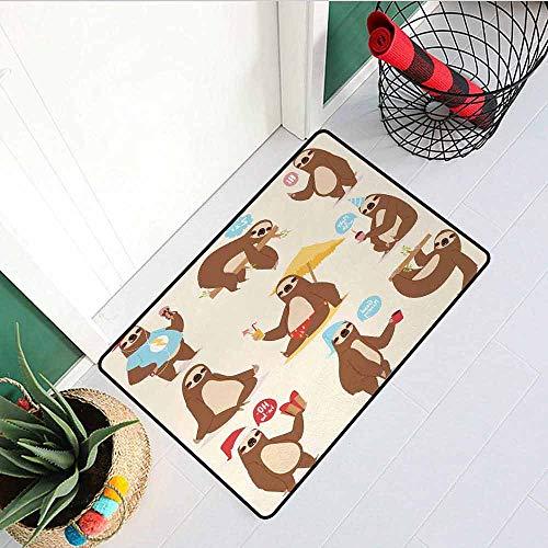 GloriaJohnson Sloth Universal Door mat Cute Funny Sluggard Animal Character Different Poses Lazy Cartoon Mammal Door mat Floor Decoration W19.7 x L31.5 Inch Brown Pale Pink -