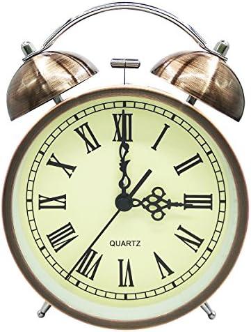 Kyduu Non ticchettio Sveglia silenziosa Sveglia Batteria da Viaggio con Luce Notturna Retro Sveglia Silenziosa Comodino Orologio Sveglia Sveglia Viaggi Vintage Classico Sveglia da Comodino