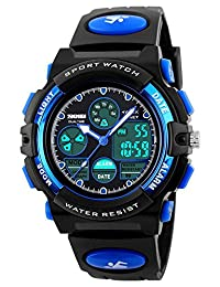 Fanmis Boys Analog Digital Electronic Sports Watch Multifuntional 24H Military Time Dual Time Quartz Waterproof LED Back Light with Simple Large Numbers 164ft 50M Water Resistant Calendar Day and Date Alarm Stopwatch Blue