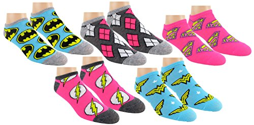 Batman Products : DC Comics Womens Justice League Ankle-No Show Socks 5 Pair Pack