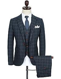 chamarra de Tartán moderno ajustado traje de un botón 3-Piece Blazer Dress Suit para hombre Tux pantalones y chaleco