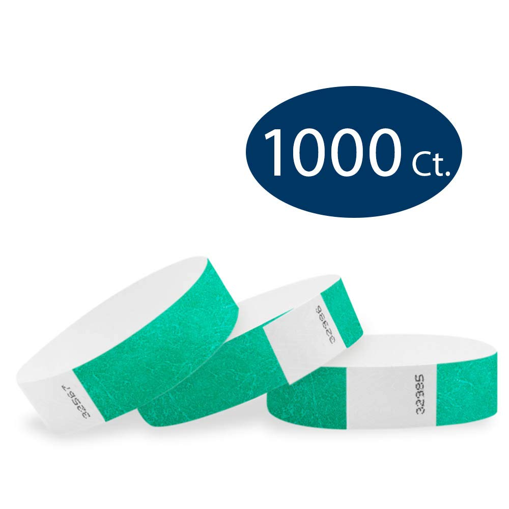WristCo Pantone Green 3/4'' Tyvek Wristbands - 1000 Pack Paper Wristbands for Events by Wristco
