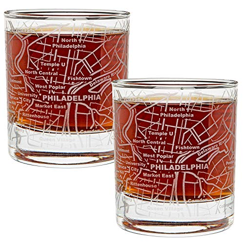 Eagles Philadelphia Glass - Greenline Goods Whiskey Glasses - 10 Oz Tumbler Gift Set for Philadelphia lovers, Etched with Philadelphia Map | Old Fashioned Rocks Glass - Set of 2