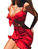 Lealac Women's Summer Party Clubwear 2 Piece V Neck Sexy Outfits Bodycorn Mini Bandage Crop Dresses Set L7-D81536 Red L